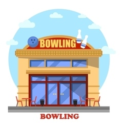Bowling club outdoor exterior panorama view vector