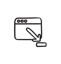 Browser window with download sign sketch icon vector