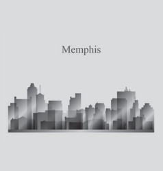 Memphis city skyline silhouette in grayscale vector