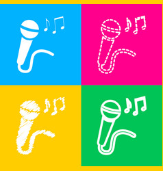 Microphone sign with music notes four styles of vector