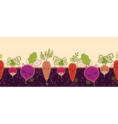 Happy root vegetables horizontal seamless pattern vector