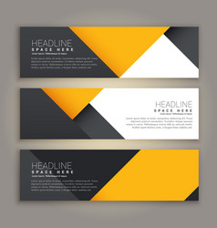 yellow and black minimal style set of web banners vector image