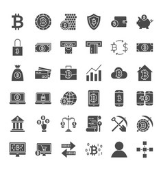 Bitcoin solid web icons vector