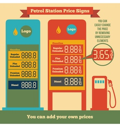 Petrol station price signs vector