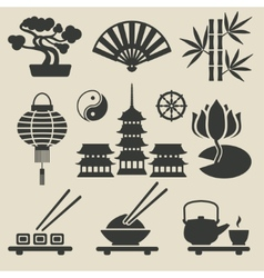 Asian icons set vector