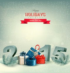 Holiday background with presents and 2015 vector