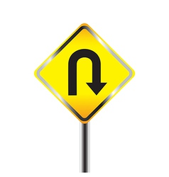 U turn road sign yellow road sign vector
