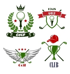 Golf club or tournament heraldic emblems vector
