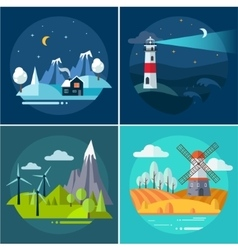 Mountains and water landscape set vector