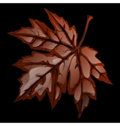 Brown volumetric maple leaf closeup vector