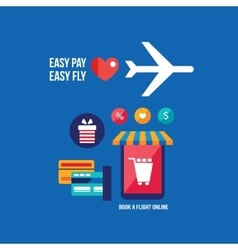 Online tickets booking mobile payment travel vector