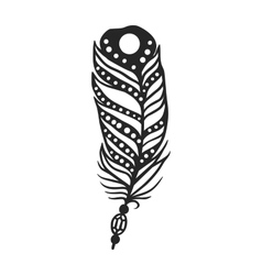 Rustic decorative black feather doodle vintage art vector