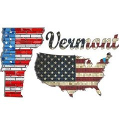 USA state of Vermont on a brick wall vector image