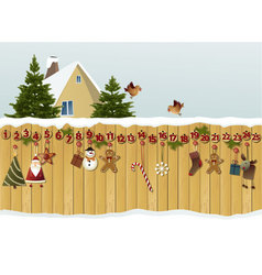Advent calendar on fence vector image vector image