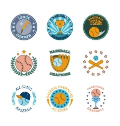 Baseball labels icons color set vector image