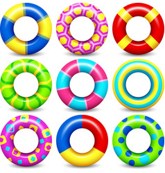 Colorful swim rings set vector