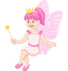 Cute little fairy girl cartoon sitting vector