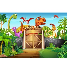 Dinosaurs living in the park vector