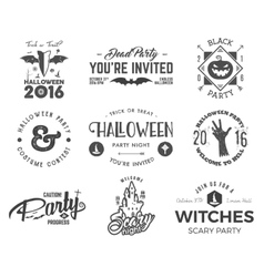 Halloween 2016 party label templates with scary vector image vector image