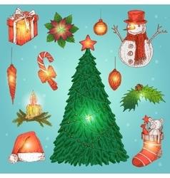Hand Drawn Christmas Decorations Set vector image