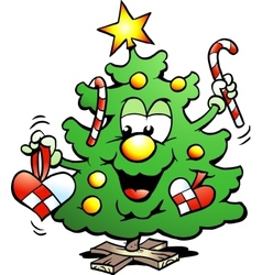 Hand-drawn of an happy christmas tree vector