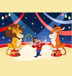 Handler with lion and tiger at circus 2 vector
