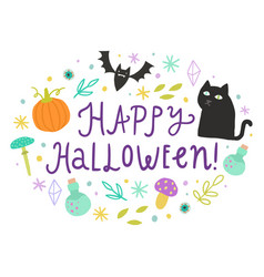 happy halloween cute doodles and lettering vector image