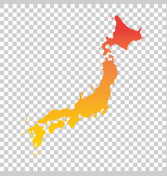 Japan map colorful orange vector