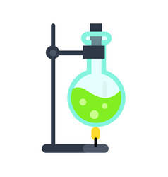 Lab flask on fire in flat style vector