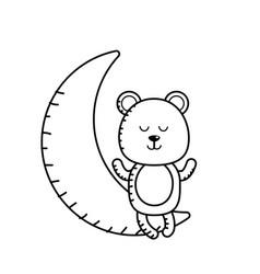 Line teddy bear seated in the moon vector