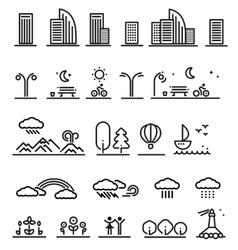 Linear landscape elements set vector
