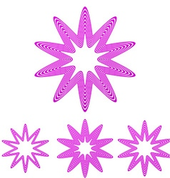 Magenta line star logo design set vector