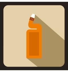 Orange plastic bottle of drain cleaner icon vector