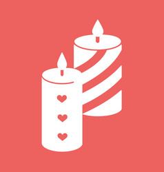 Romantic candle with hearts and lines flat icon vector