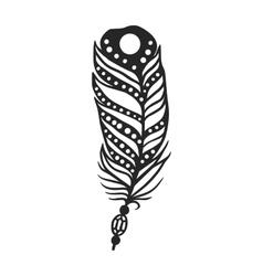 Rustic decorative black feather doodle vintage art vector image