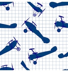 Seamless pattern from ink retro of planes vector