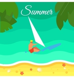 Seascape with surfer summer banner vector