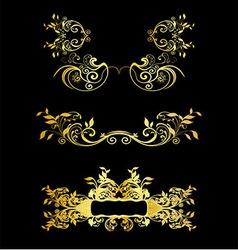 Set Of Golden Vintage Ornaments With Floral Elemen vector image vector image