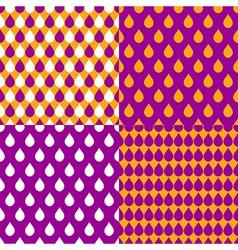 Set Orange Purple Water Drops Background vector image