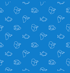 simple aquarium fish blue pattern vector image