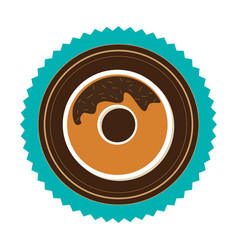 stamp border with donut with chocolate glazed vector image vector image