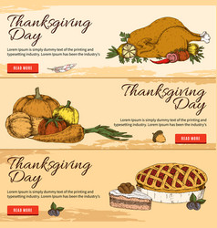 Thanksgiving day horizontal hand drawn banners vector