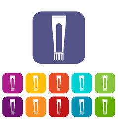 Toothpaste tube icons set flat vector