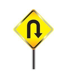 U Turn road sign Yellow road sign vector image vector image