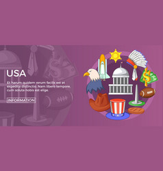 Usa travel banner horizontal cartoon style vector