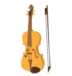 Wooden violin with bow vector