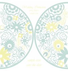Round invitation card with lace ornaments vector