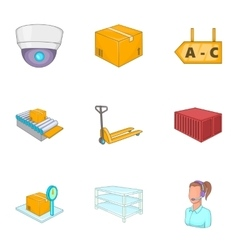 Logistic icons set cartoon style vector