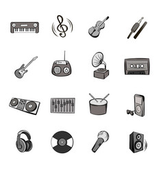 music icons set cartoon vector image