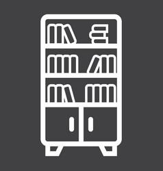 Bookshelf line icon furniture and interior vector
